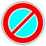 Várakozni tilos, közlekedési tábla
