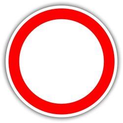 Minden irányból behajtani tilos, KRESZ tábla
