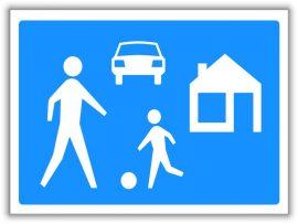 Lakó pihenő övezet, közlekedési tábla